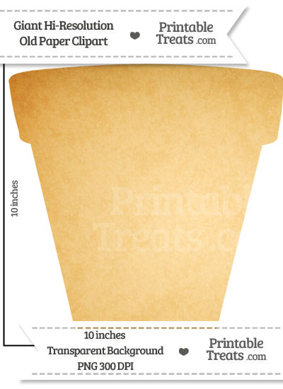 Old Paper Giant Flower Pot Clipart from PrintableTreats.com