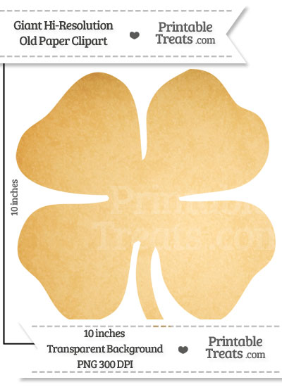 Old Paper Giant Four Leaf Clover Clipart from PrintableTreats.com