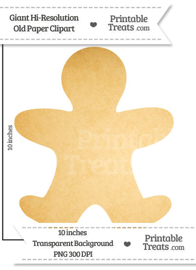 Old Paper Giant Gingerbread Man Clipart from PrintableTreats.com