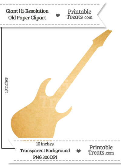 Old Paper Giant Guitar Clipart from PrintableTreats.com