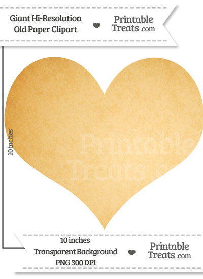 Old Paper Giant Heart Card Symbol Clipart from PrintableTreats.com
