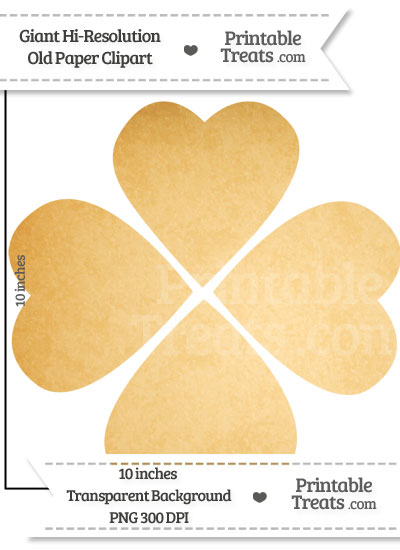 Old Paper Giant Heart Four Leaf Clover Clipart from PrintableTreats.com