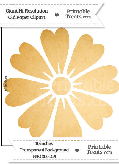 Old Paper Giant Heart Petal Flower Clipart from PrintableTreats.com