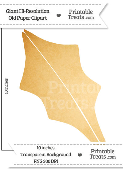 Old Paper Giant Holly Leaf Clipart from PrintableTreats.com