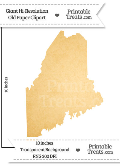 Old Paper Giant Maine State Clipart from PrintableTreats.com