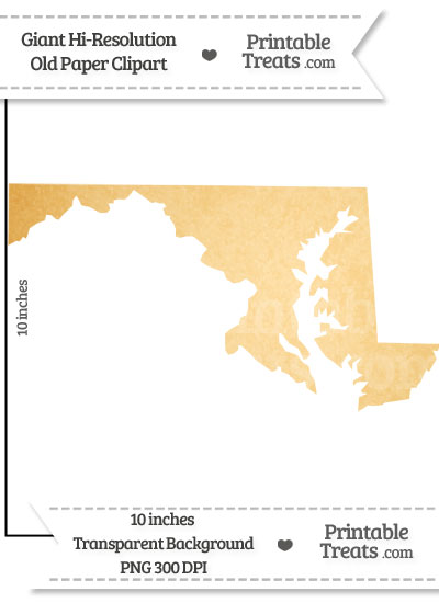 Old Paper Giant Maryland State Clipart from PrintableTreats.com
