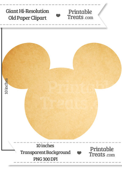 Old Paper Giant Mickey Mouse Head Clipart from PrintableTreats.com