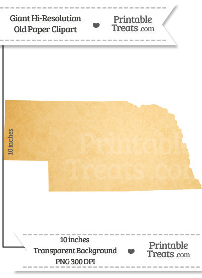 Old Paper Giant Nebraska State Clipart from PrintableTreats.com