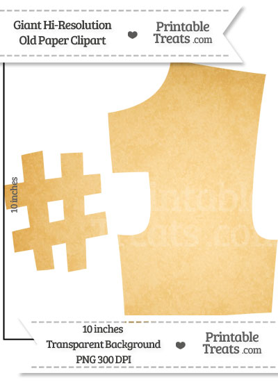 Old Paper Giant Number One Clipart from PrintableTreats.com