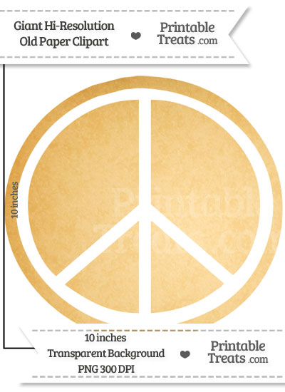 Old Paper Giant Peace Sign Clipart from PrintableTreats.com