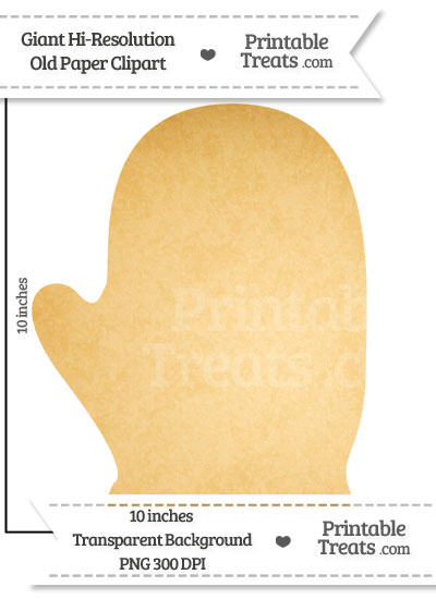 Old Paper Giant Right Glove Clipart from PrintableTreats.com