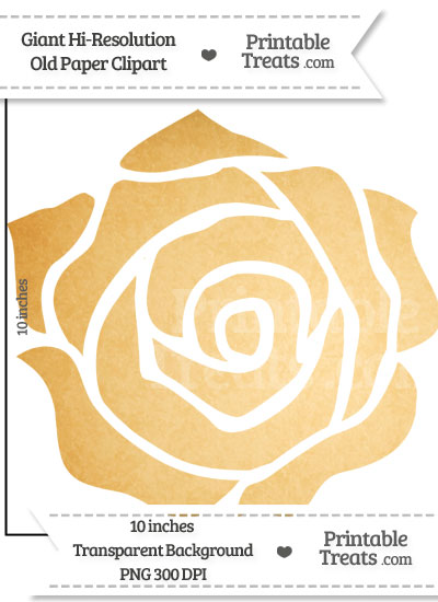 Old Paper Giant Rose Clipart from PrintableTreats.com