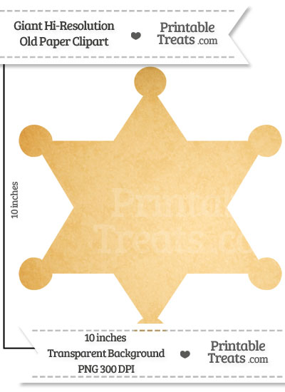Old Paper Giant Sheriffs Badge Clipart from PrintableTreats.com
