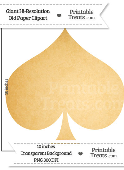 Old Paper Giant Spade Card Symbol Clipart from PrintableTreats.com