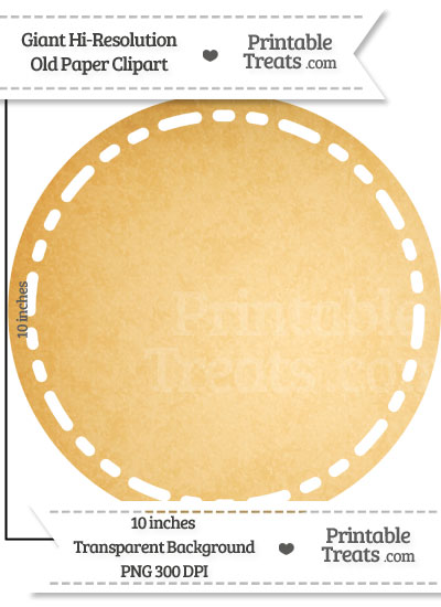 Old Paper Giant Stitched Circle Clipart from PrintableTreats.com