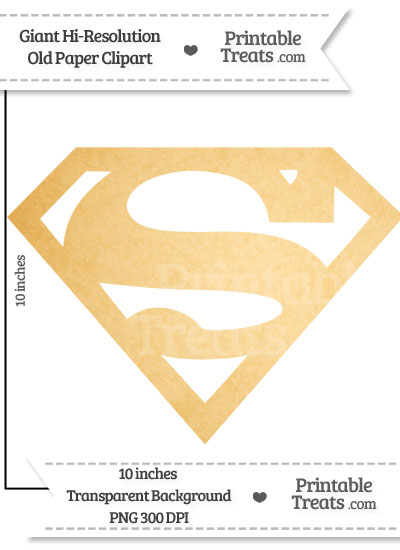 Old Paper Giant Superman Symbol Clipart from PrintableTreats.com