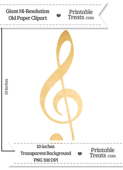 Old Paper Giant Treble Clef Clipart from PrintableTreats.com
