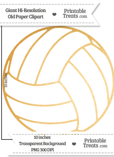 Old Paper Giant Volleyball Clipart from PrintableTreats.com