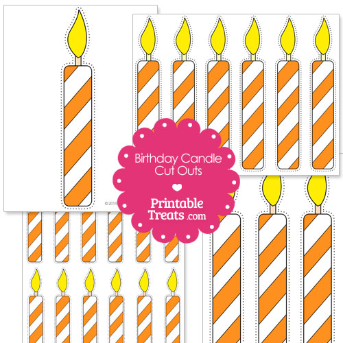Orange and white birthday candle cut outs from PrintableTreats.com