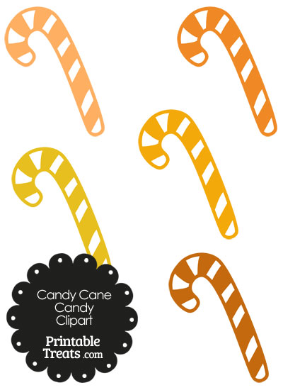 Orange and White Candy Cane Clipart from PrintableTreats.com