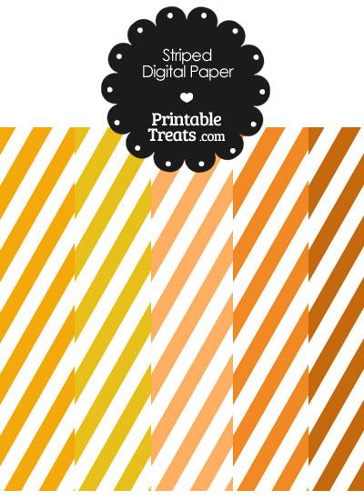 Orange and White Diagonal Striped Digital Scrapbook Paper from PrintableTreats.com