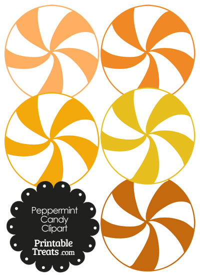 Orange and White Peppermint Candy Clipart from PrintableTreats.com