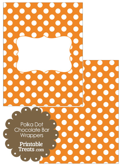 Orange and White Polka Dot Chocolate Bar Wrappers from PrintableTreats.com