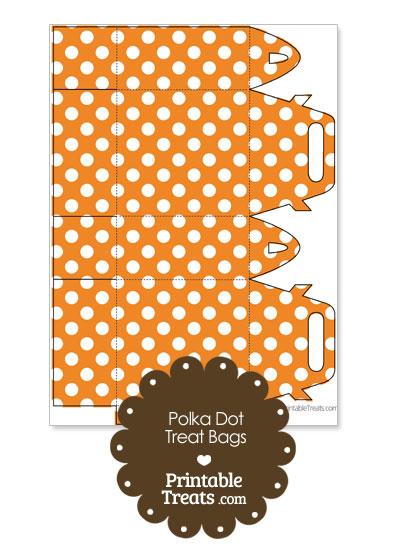 Orange and White Polka Dot Treat Bags to Print from PrintableTreats.com