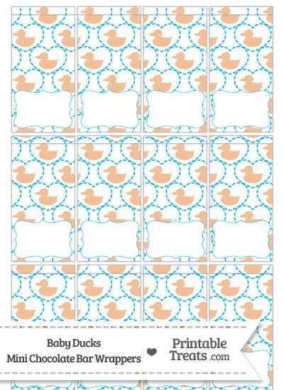 Orange Baby Ducks Mini Chocolate Bar Wrappers from PrintableTreats.com