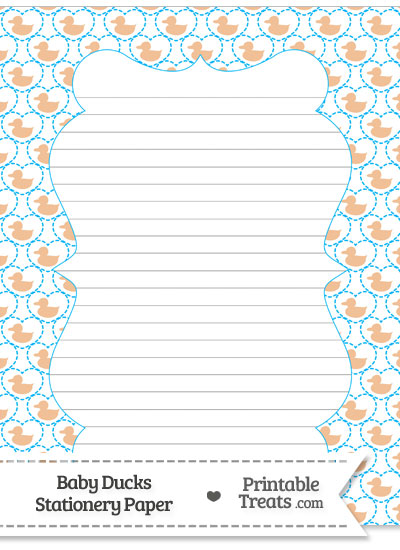 Orange Baby Ducks Stationery Paper from PrintableTreats.com