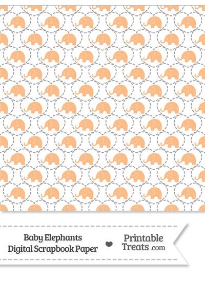 Orange Baby Elephants Digital Scrapbook Paper from PrintableTreats.com