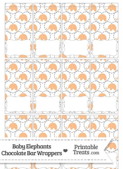Orange Baby Elephants Mini Chocolate Bar Wrappers from PrintableTreats.com