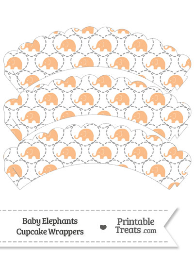 Orange Baby Elephants Scalloped Cupcake Wrappers from PrintableTreats.com
