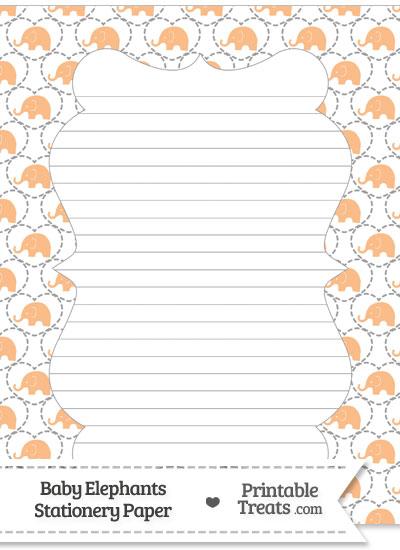 Orange Baby Elephants Stationery Paper from PrintableTreats.com