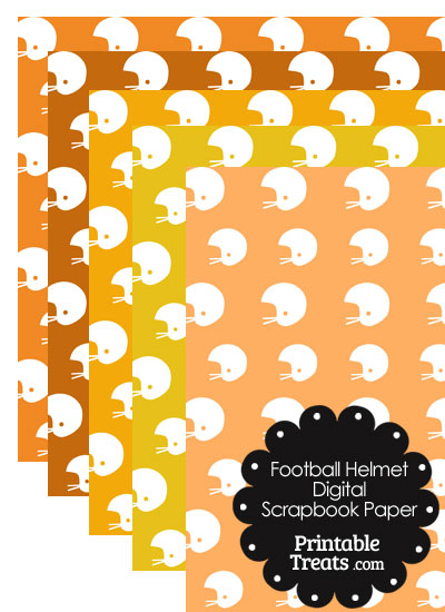 Orange Background Football Helmet Digital Scrapbook Paper from PrintableTreats.com