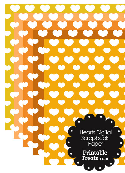 Orange Background Heart Digital Scrapbook Paper from PrintableTreats.com