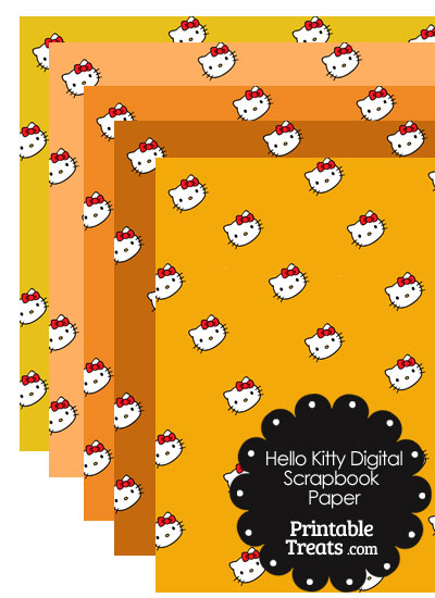 Orange Background Hello Kitty Digital Scrapbook Paper from PrintableTreats.com
