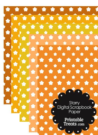 Orange Background Star Digital Scrapbook Paper from PrintableTreats.com