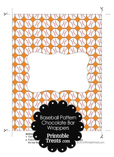 Orange Baseball Pattern Chocolate Bar Wrappers from PrintableTreats.com