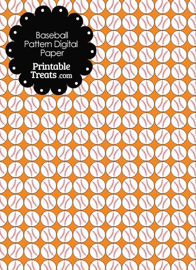 Orange Baseball Pattern Digital Scrapbook Paper from PrintableTreats.com