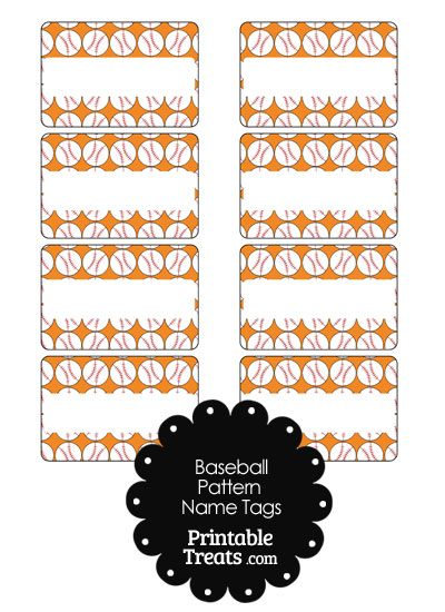 Orange Baseball Pattern Name Tags from PrintableTreats.com