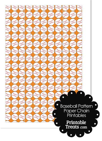 Orange Baseball Pattern Paper Chains from PrintableTreats.com