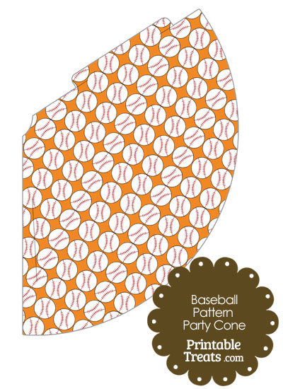 Orange Baseball Pattern Party Cone from PrintableTreats.com