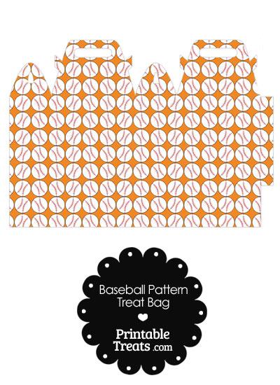 Orange Baseball Pattern Treat Bag from PrintableTreats.com