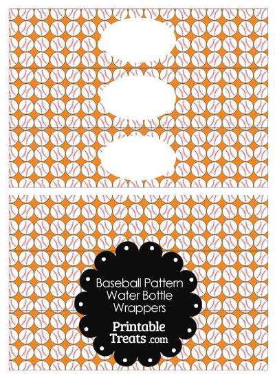 Orange Baseball Pattern Water Bottle Wrappers from PrintableTreats.com