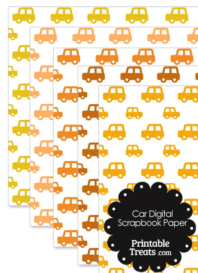 Orange Car Digital Scrapbook Paper from PrintableTreats.com
