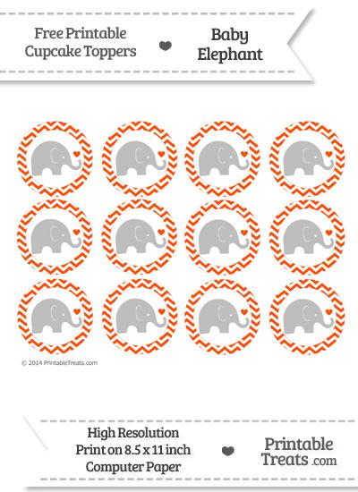Orange Chevron Baby Elephant Cupcake Toppers from PrintableTreats.com