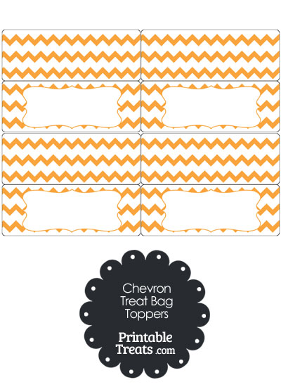 Orange Chevron Treat Bag Toppers from PrintableTreats.com