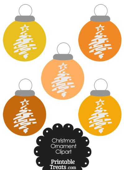 Orange Christmas Tree Christmas Ornament Clipart from PrintableTreats.com