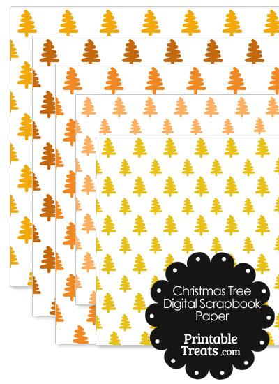 Orange Christmas Tree Digital Scrapbook Paper from PrintableTreats.com